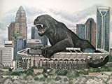 Panther Country 11''x17'' size - pen and ink print with panther over Charlotte skyline
