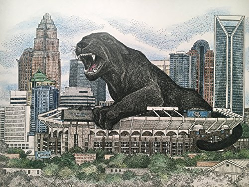 Panther Country 11''x17'' size - pen and ink print with panther over Charlotte skyline by Campus Scenes