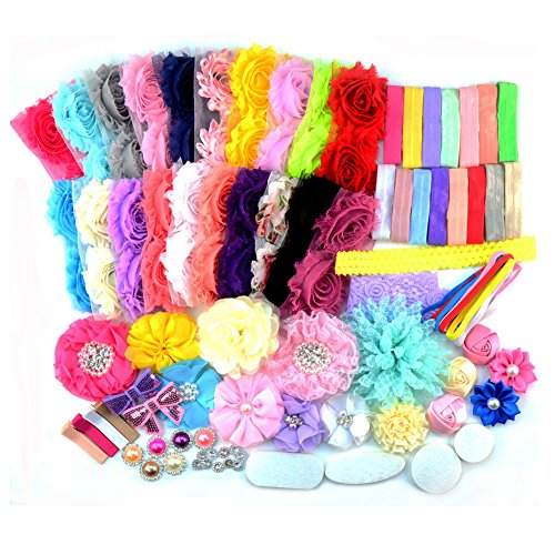 95 Pcs Headbands and 4 Clips DIY Headand Kit Baby Shower Games Party Supplies for DIY Hair Bow Maker - Paris Inspired Collection(AIH0235-2)