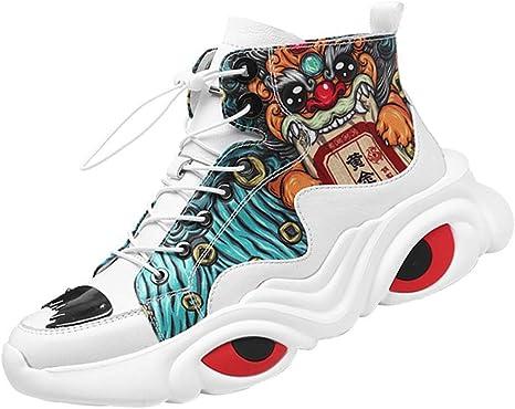 SHENMINJ Zapatillas Altas de Hombre Rojo Neto Personalidad Moda Salvaje Zapatos de Hombre Zapatos de Hip Hop,43: Amazon.es: Deportes y aire libre