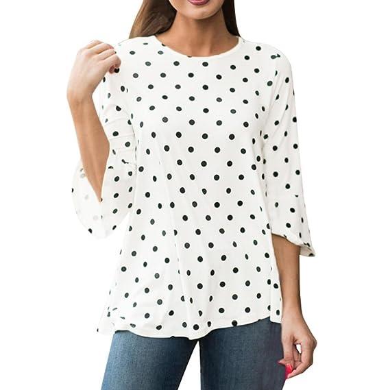 Mujer Blusas de Lunares Fossen Camiseta Manga Tres Cuartos O-Cuello Camisas Tops (S