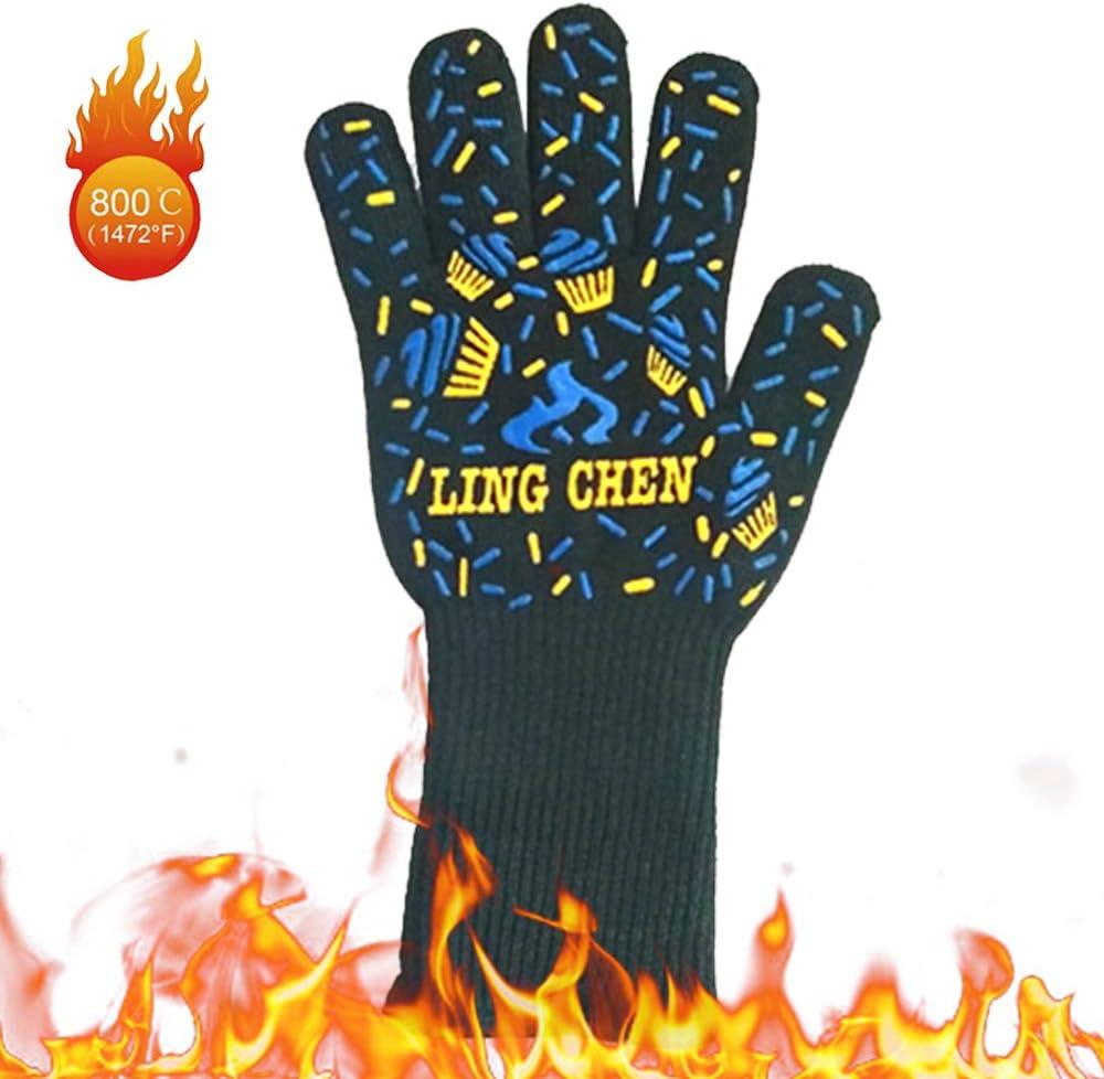Weehey Gants de Barbecue Gants de Gril r/ésistants /à la Chaleur Mitaines de Four isolantes Gants antid/érapants pour la Cuisson Fumeur Foyer