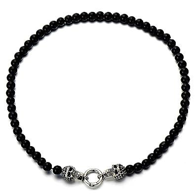 62c1fc4e98e4f COOLSTEELANDBEYOND Gothique Diable - Homme Femme Perles Onyx Noir Collier -  Crâne Pendant - Acier -