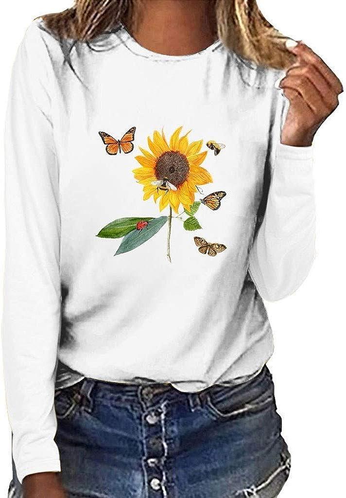 DAY8 Maglietta Manica Lunga Donna con Fiori Girasole Camicia Maniche Lunghe Donna Elegante Taglie Forti Girocollo Magliette Larghe Donna Tumblr Ragazza Moda Casual