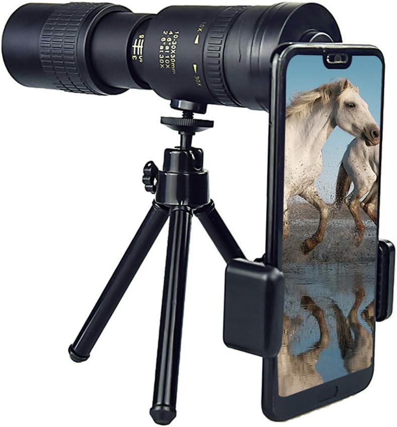 4K 10-300X40MM Super Telephoto Zoom Monocular Telescope,Waterproof,Fogproof,HD,Easy Focus,Night Vision,with Smartphone Holder /& Tripod