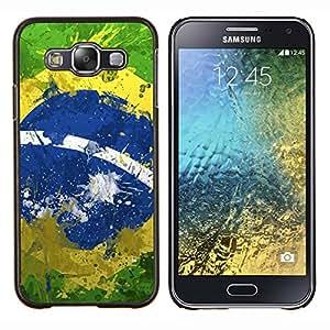 KLONGSHOP // Cubierta de piel con cierre a presión Shell trasero duro de goma Protección Caso - Bandera del Brasil del vintage - Samsung Galaxy E5 E500 //