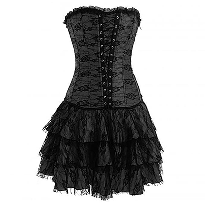 Romady Womens Lace Corset Dress Strapless Gothic Sexy Bustier Outerwear