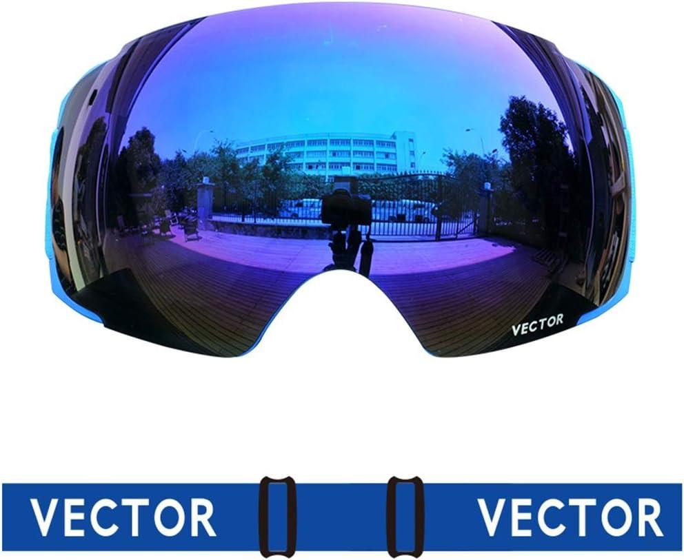 WJ スキーゴーグル スキーゴーグル - ダブルレンズ、取り外し可能なレンズ、高効率防曇、シリコーン滑り止めテープ、アダルトユニセックス屋外スキー、クライミングコーティング大球面HDゴーグル - 4色 /-/ (色 : 青 (25%)) 青 (25%)