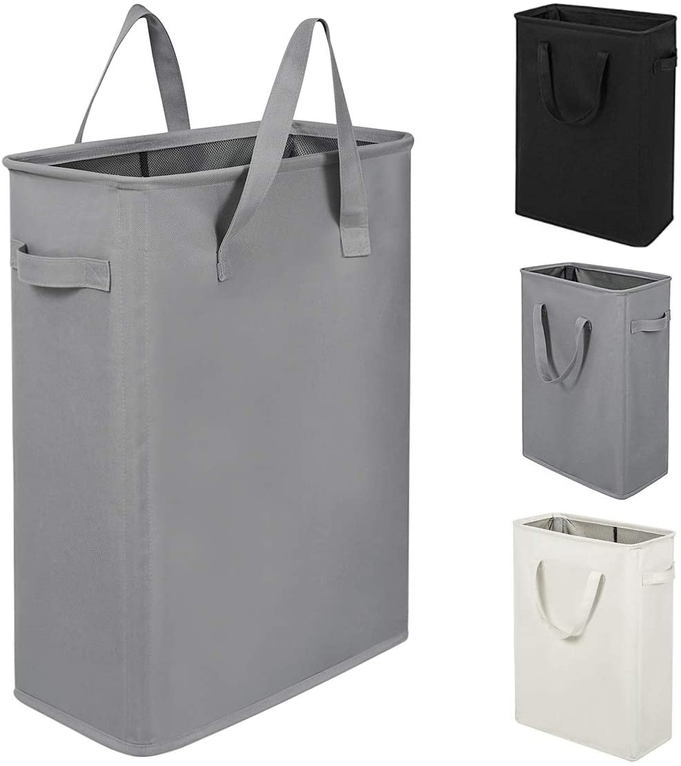 ZERO JET LAG 45L Slim Laundry Hamper with Handles Thin Laundry Bin Collapsible Dirty Clothes Basket Narrow Laundry Bag Foldable Dirty Hamper(21 inches,Grey)