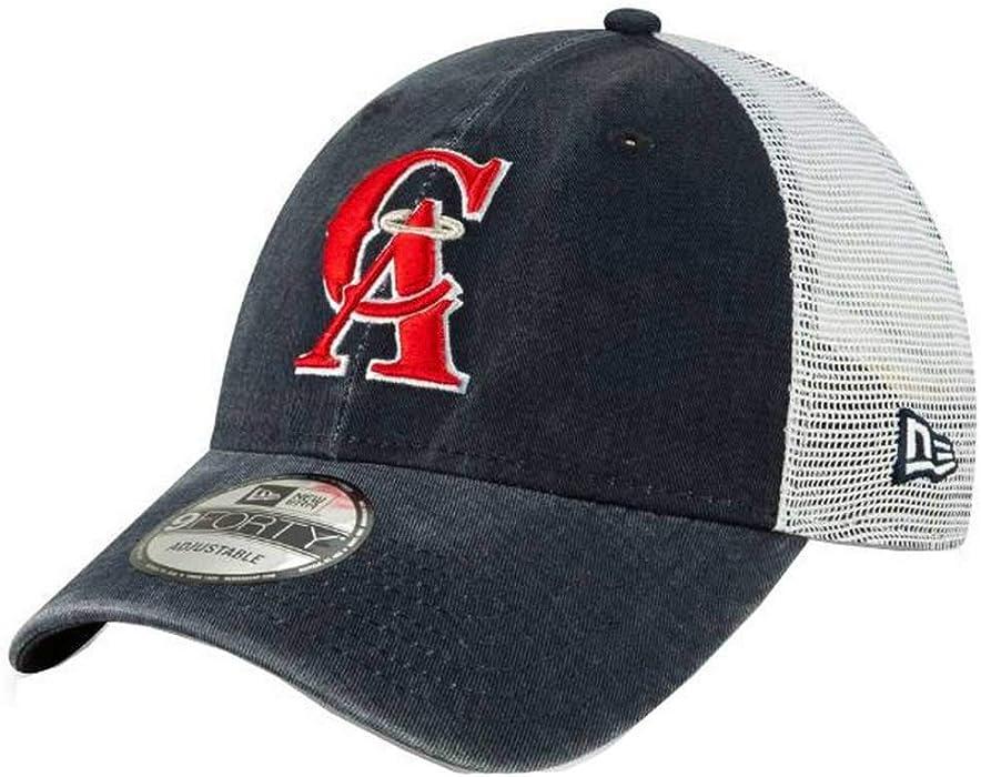 meet 1ac73 a3127 New Era 2019 MLB California Angels Baseball Cap Hat 1993 Cooperstown Truck  Mesh Navy White