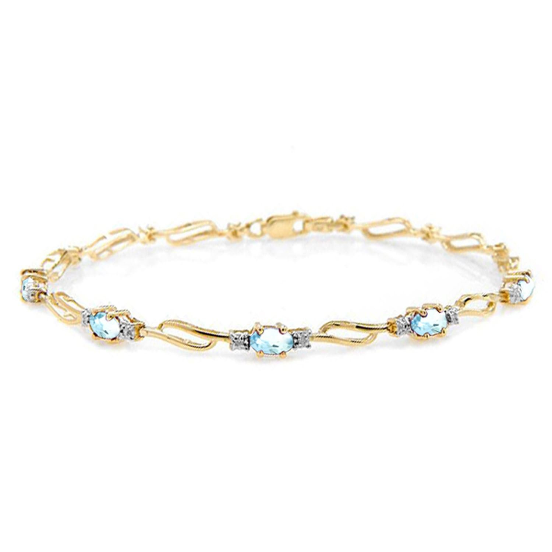 ALARRI 3.39 CTW 14K Solid Gold Love Is Free Aquamarine Diamond Bracelet Size 8.5 Inch Length
