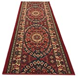 Custom Size Runner Persian Medallion Roll Runner Red 26 Inch Wide x Your Length Size Choice Slip Skid Resistant Rubber Back (Red, 14 ft x 26 in)