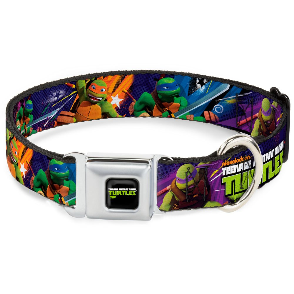 Buckle-Down Seatbelt Buckle Dog Collar TMNT New Series Logo2 Group Action Pose Multi color 1  Wide Fits 9-15  Neck Small