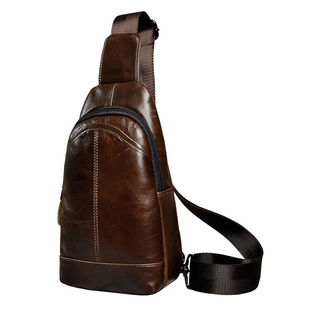 Jxth Unwucht Wasserdichte Tasche Echtes Leder Herren Outdoor Multifunktions Handy Brusttasche Umhängetasche für Outdoor-Radfahren Gym Wandern