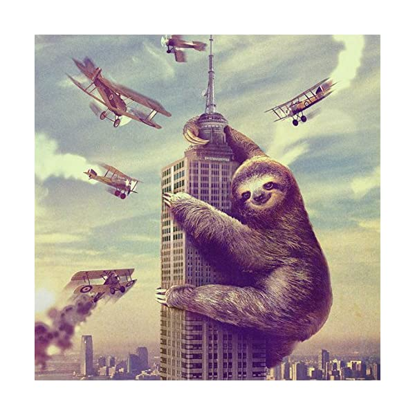 Slothzilla, Sloth, Animal, Pillow Cover, Sham Cover, Pillow Case, Made In Usa (Standard 30'' X 20'') -
