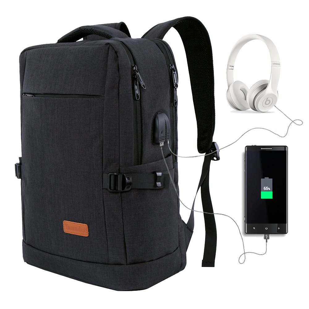 Laptop Backpack, Water Resistant College Students School Bag Travel Computer Backpack for Men Women with USB Charging Port and Headphone Port, Fits Business Laptops Notebooks up to 15.6 Inches