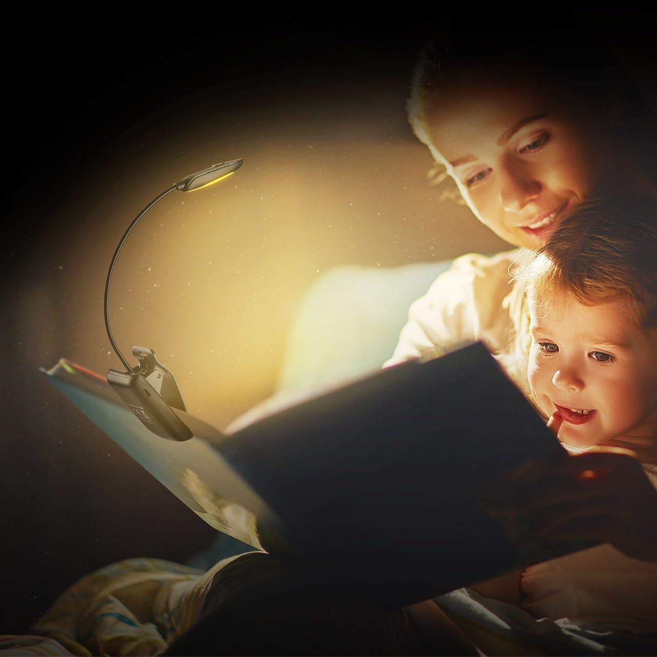 7 LED Portable Rechargeable 3 Modes de Temp/érature de Couleurs et 3 Niveaux de Luminosit/é R/églables 60Hrs Travail TOPELEK 【Version Verte】 Lampe de Lecture pour Livres
