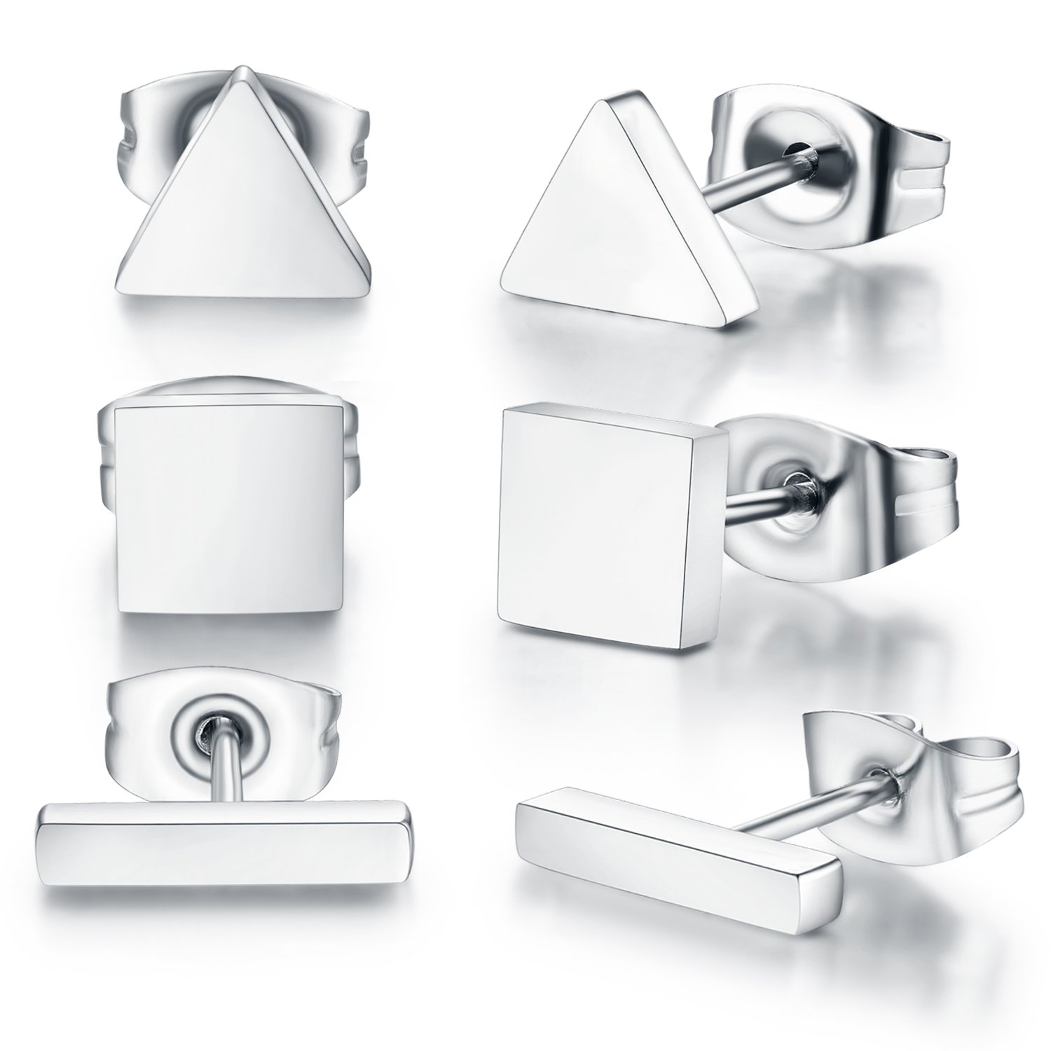 SPINEX 3 Pairs Silver Stud Earring Set Pierced (Rectangle, Square, Triangle) by SPINEX (Image #2)
