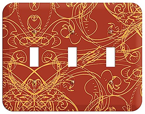 (Red Deco Sketch Triple Toggle Switchplate)