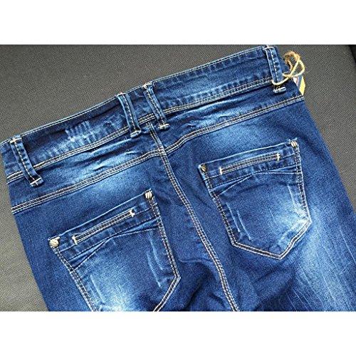 Dei Denim Donne Deep Byjia Del Jeans Della Lavaggio Maglia Sottili Di Delle Pantaloni Vita Giacca Sottile Stretti Zip Blue Tasca ASZfq