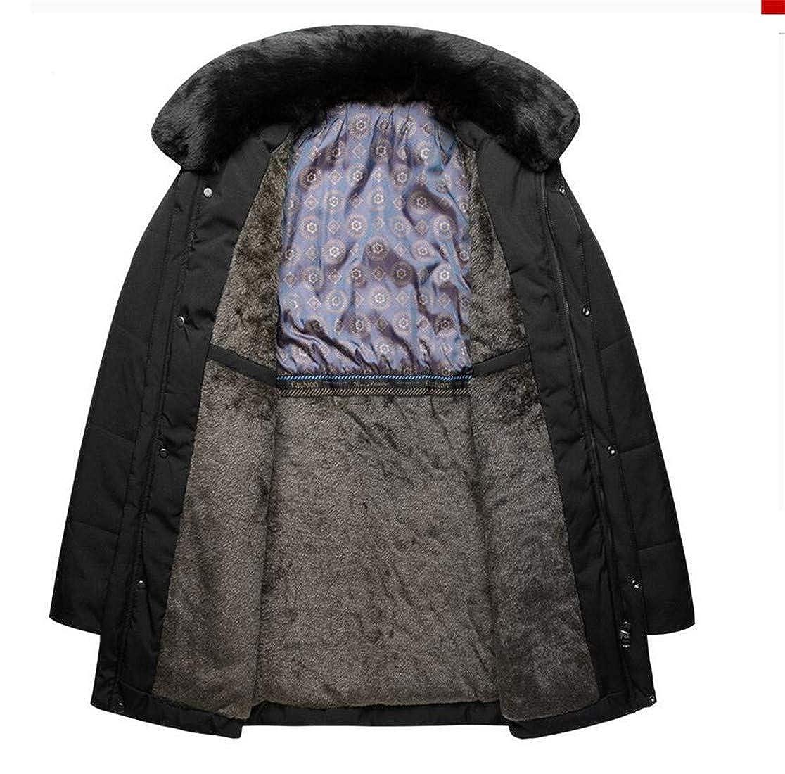 Wofupowga Mens Warm Faux Fur Collar Warm Overcoat Quilted Fleece Parkas Coats
