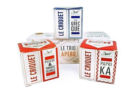 Insectos comestibles JIMINIS - 3 cajas de saltamontes sazonados - Crujiente como patatas fritas