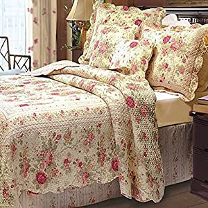 Amazon Com Chic Shabby Romantic Rose Bedding Quilt Set