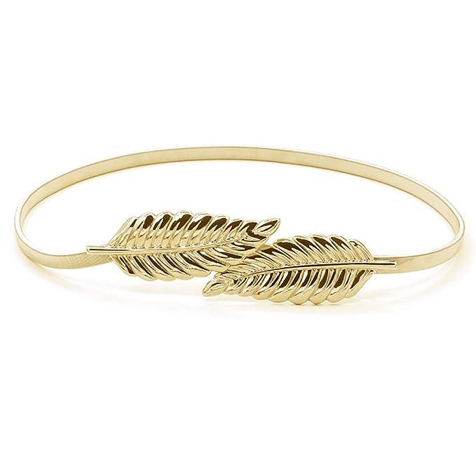 iShine Metal Leaves Waistband Elastic Stretch Waist Strap Cummerbund, Golden at Amazon Womens Clothing store: