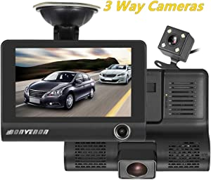 Car Dash Cam Front Inside Rear Video Recorder Camera Dual Dash Cam with 4 inch Reverse Full Screen Driving Recorder DVR HD 1080P Night Vision Parking Mode Seamless Recording
