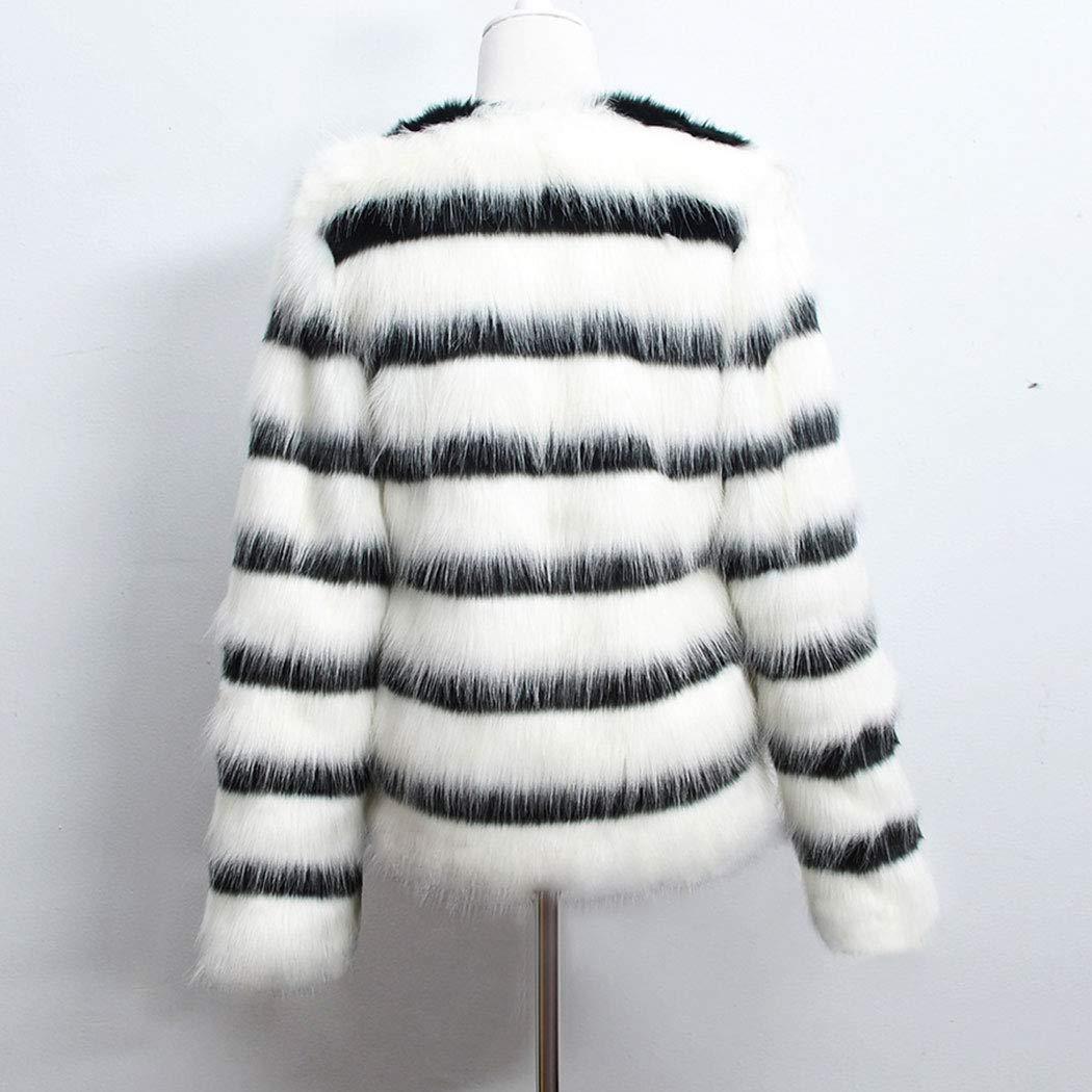 Black+White Raylans Womens Coat Striped Open Front Parka Shaggy Faux Fur Coat Jacket