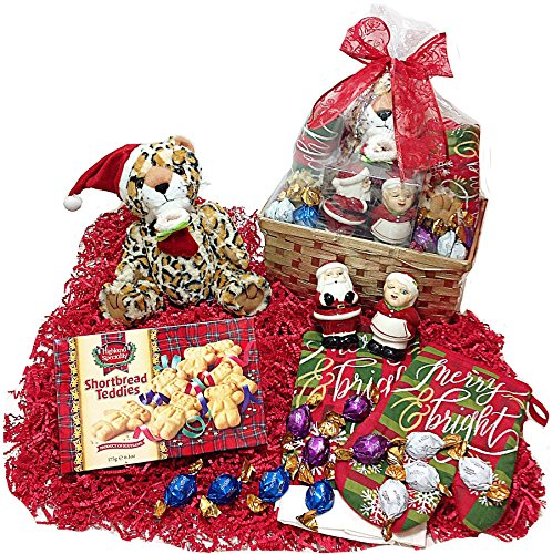 Christmas Holiday Kitchen Gift Basket - Godiva Gourmet Truffles, Cookies, Plush Leopard, Towel, Potholder and Novelty Salt & Pepper Shakers