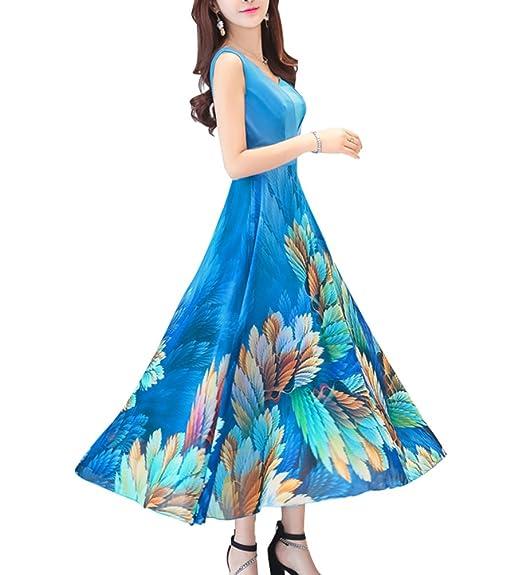 128f791f770 CN Dragon Sleeveless Chiffon Long Dress Beach Sundress Long Flower-patterned  Skirt (3XL