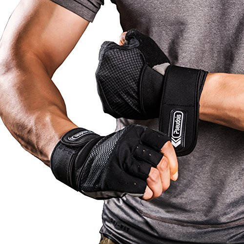 (Weight Lifting Gloves with Integrated Wrist Wrap, Light Microfiber & Anti-Slip Silica Gel Grip Glove for Gym Workout, CrossFit, Weightlifting, Powerlifting, and Running-Pair)