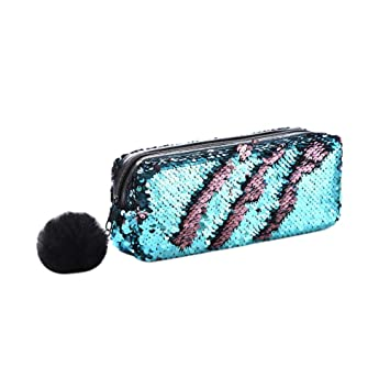 1accb7b7638c Amazon.com : gainvictorlf Makeup Organizer Pouch Sequin Pompom Decor ...