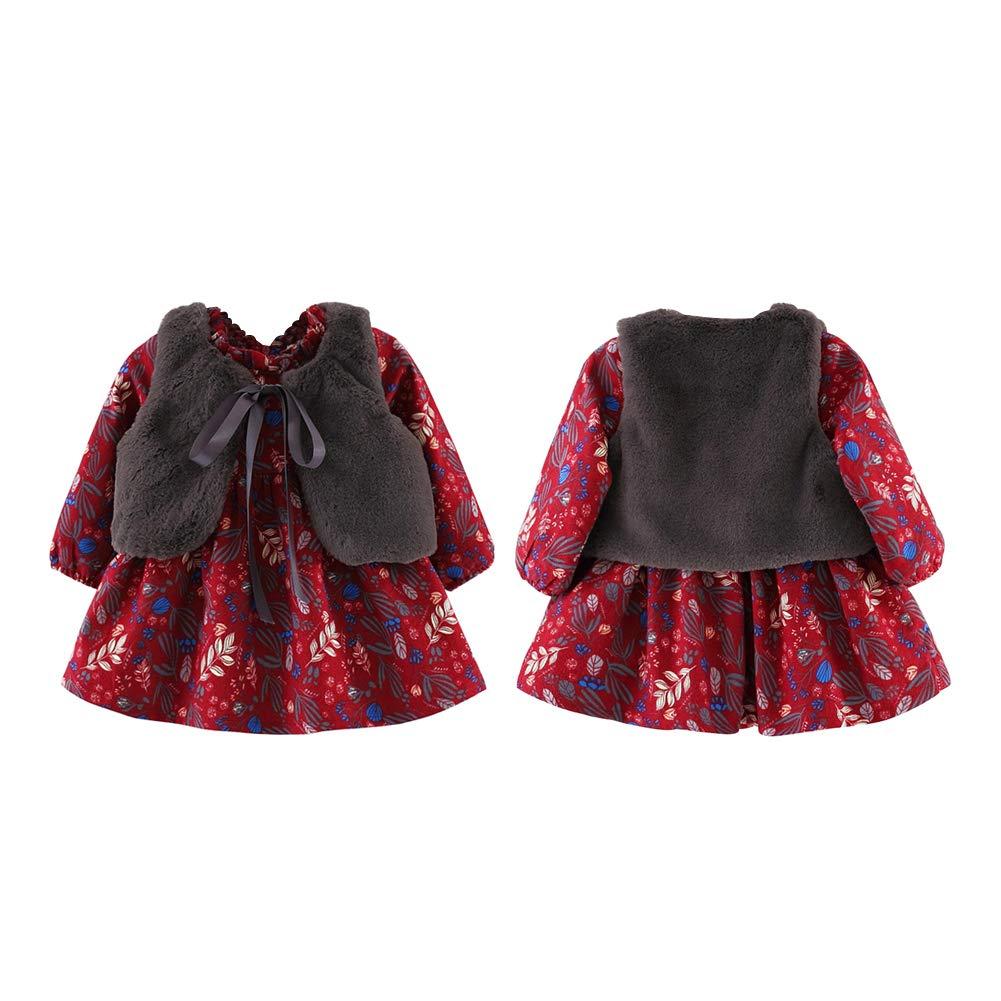 BOBORA Baby Girls Winter Warm Velvet Dress Toddler Long Sleeve Flowers Princess Dress with Fuax Fur Gilet Vest Waistcoat for 0-4Years