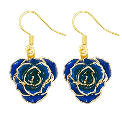 Amazoncom DEFAITH Birthday Jewelry 24K Gold Dipped Rose Earrings