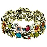 Falari Vintage Flower Bracelet Bangle Crystal Beads Hand-Painted Multi