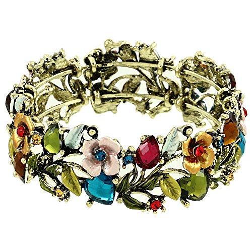 Falari Vintage Flower Bracelet Bangle Crystal Beads Hand-Painted Multi (Hand Painted Beads)