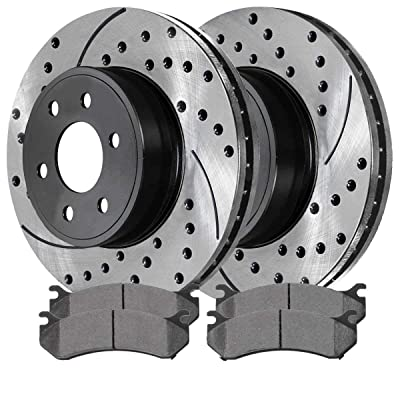 Auto Shack SCDPR6505665056785 Pair of Drilled and Slotted Rotors 4 Ceramic Brake Pads: Automotive