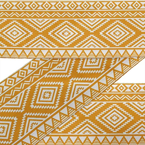 (IBA Indianbeautifulart Orange Aztec Geometric Printed Ribbon Trim 9 Yards Velvet Fabric Laces for Crafts Sewing Accessories 4 Inches)