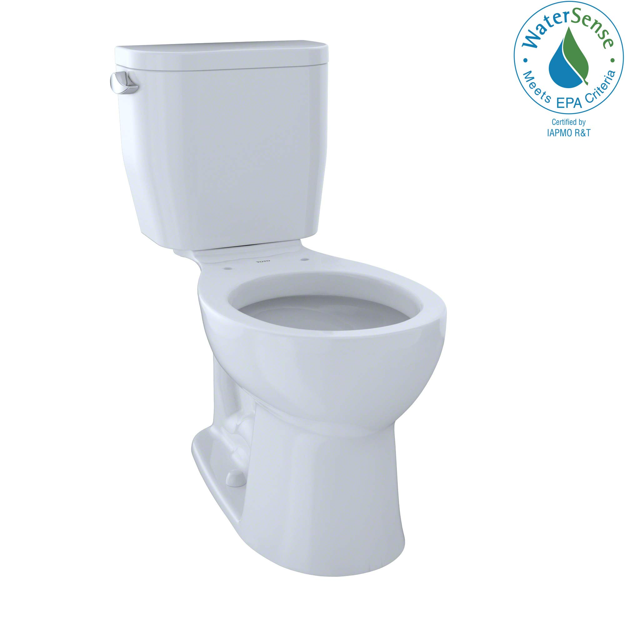 TOTO CST243EF#01 Entrada Two-Piece Round 1.28 GPF Universal Height Toilet, Cotton White by TOTO