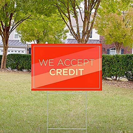 18x12 CGSignLab 5-Pack Modern Diagonal Double-Sided Weather-Resistant Yard Sign We Accept Credit