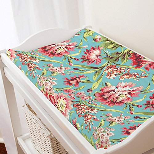 - Carousel Designs Coral and Teal Floral Changing Pad Cover