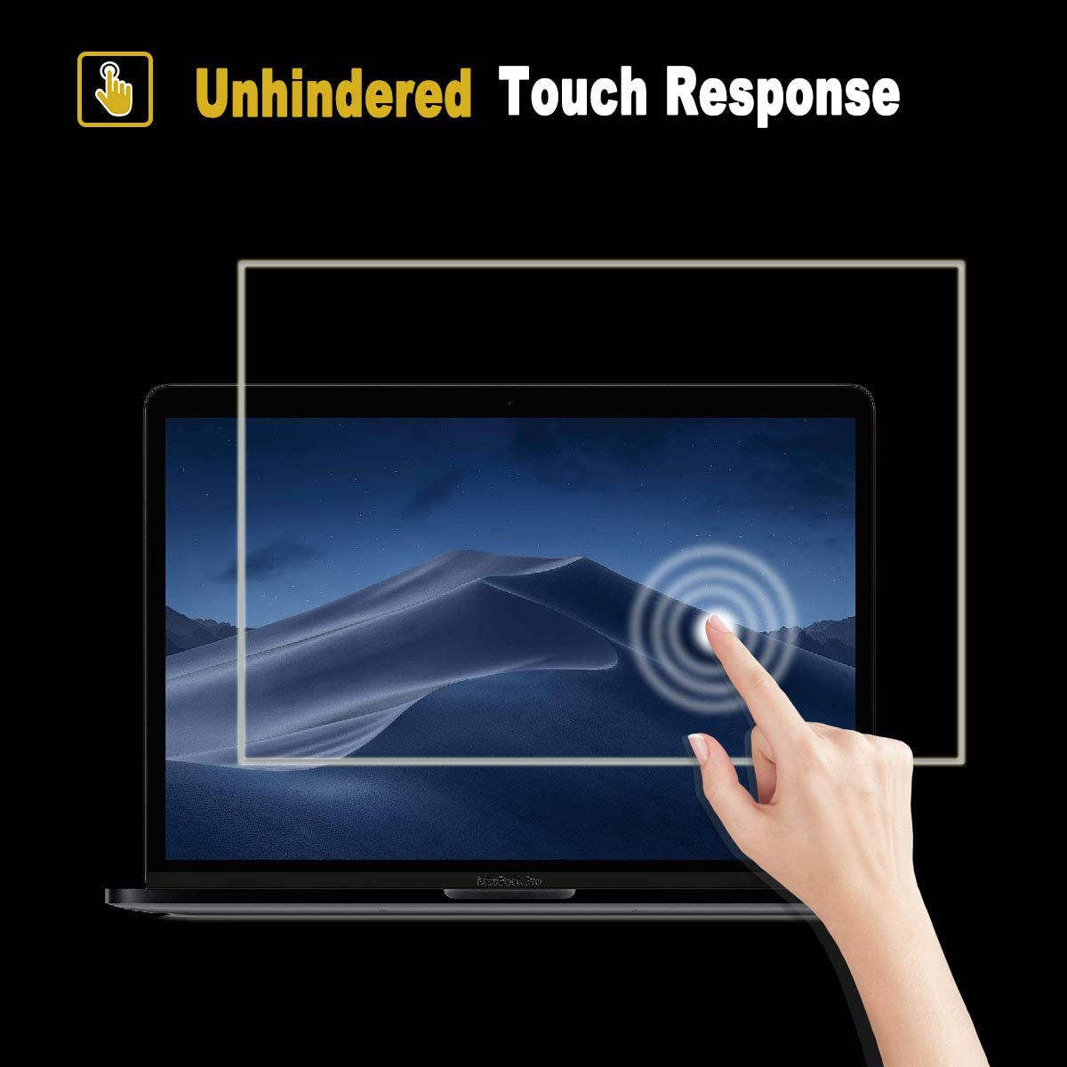 Anti Scratch No Bubble Tempered Glass Screen Protector For 2016-2019 MacBook Pro 13 Inch No Waves Apple Model A2159 A1706 A1708 A1989 Reduce Fingerprint 2019 Newest Glass Screen Protector