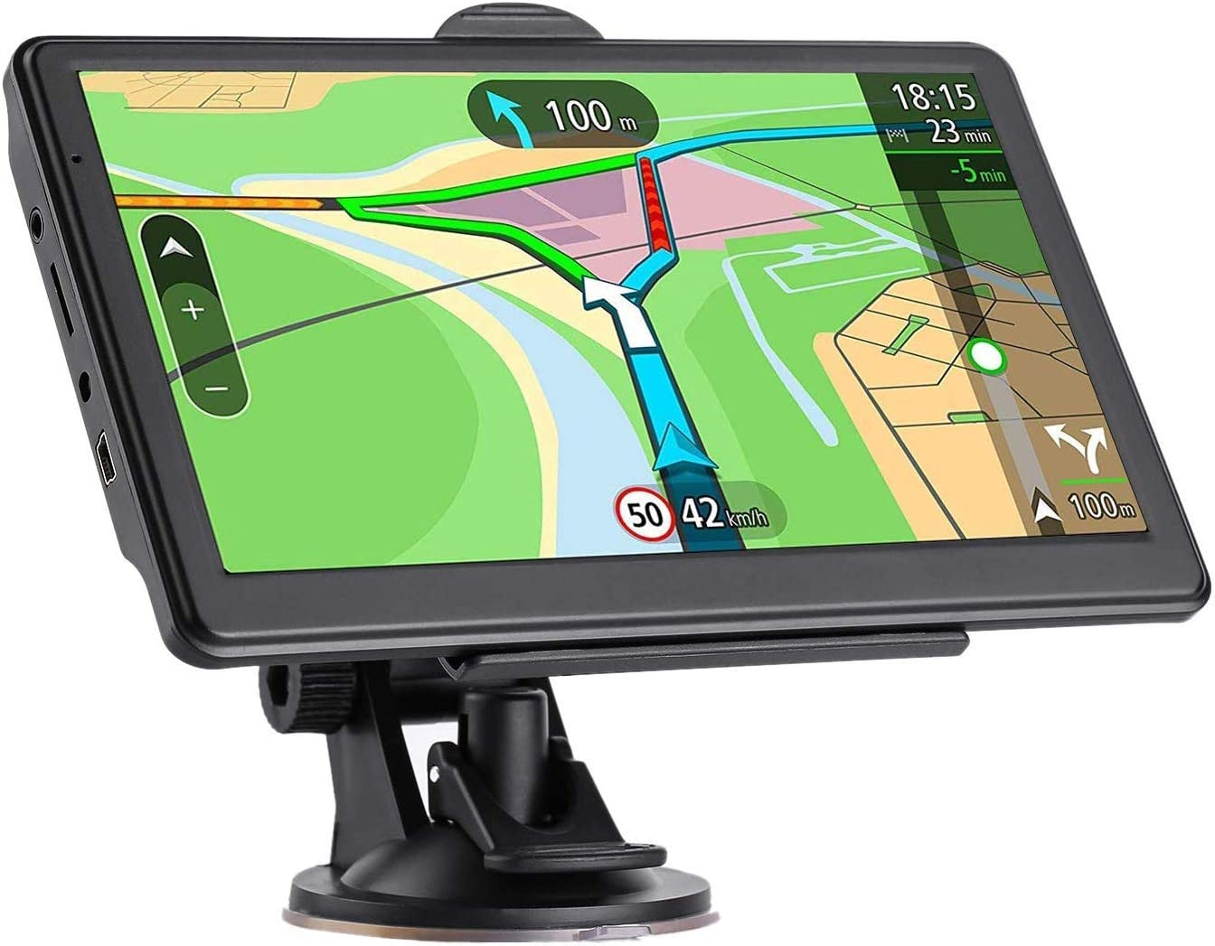 GPS Navigation for car, 7-Inch HD Car GPS 256-8GB Voice Broadcast Navigation, top-Loading North America map USA, Canada, Mexico map Lifetime map Free Update