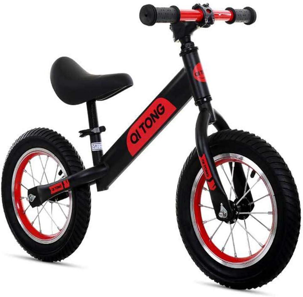 ZLXLX Bicicleta de equilibrio de 12 pulgadas Cuadro de acero al carbono sin pedal Bicicleta de equilibrio para niños de 3 a 6 años, naranja plateado,Negro rojo