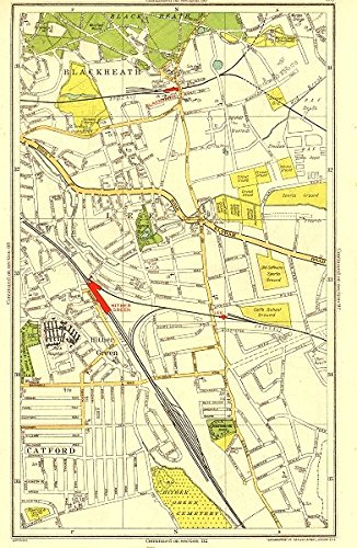 LONDON. Blackheath Hither Green Lee Catford Kidbrooke - 1937 - old antique vintage map - printed maps of London Antiqua Print Gallery