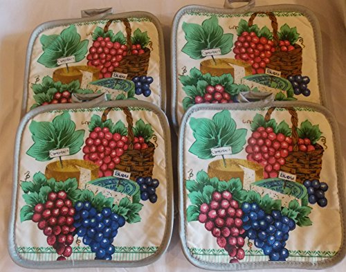 Potholders Set of 4 7 1/2in Square Grapes Design