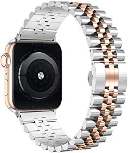 Wolait Compatible with Apple Watch Band 44mm 42mm 40mm 38mm, Stainless Steel Heavy Band with Butterfly Folding Clasp Link Bracelet for iWatch Series 6/SE Series 5/4/3/2/1 (Silver/Rose Gold, 40mm/38mm)