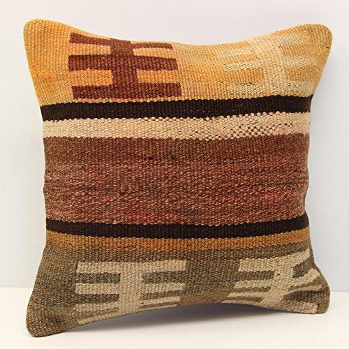 Throw kilim pillow 14x14 Feet ( 35x35 cm) Anatolian Kelim pillow cover Turkish Kilim Pillow Home Design Kilim Cushion Art deco pillow cover interior design (Anatolian Striped Kilim Rug Cushion)